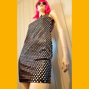 VTG MOD Gold Paillettes Sparkly Bodycon Mini Dress